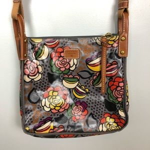 Fossil gray floral Crossbody messenger Bag